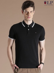 Louis Philippe Sport Black Slim Fit Polo T-shirt