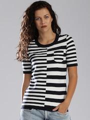 Tommy Hilfiger Navy & White Striped Sweater