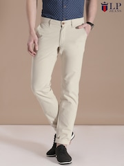 Louis Philippe Jeans Beige Steven Slim Fit Chino Trousers