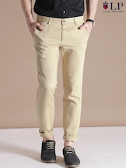 Louis Philippe Sport Beige Steven Fit Chino Trousers
