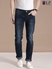 Louis Philippe Jeans Navy Matt Slim Fit Jeans
