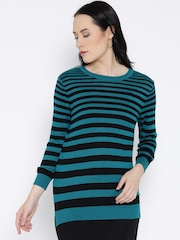 United Colors of Benetton Women Blue Solid Sweater
