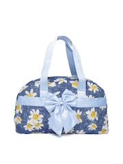 red pout Blue Floral Print Quilted Handbag