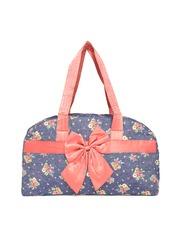 red pout Blue Floral Print Quilted Shoulder Bag