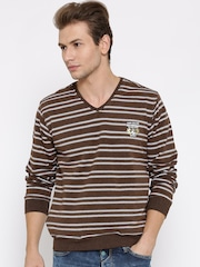 Fort Collins Brown & White Striped Sweatshirt