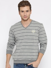 Fort Collins Grey Melange & White Striped Sweatshirt