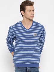 Fort Collins Blue & White Striped Sweatshirt
