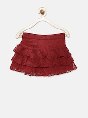 United Colors of Benetton Girls Red Tiered Lace Skirt
