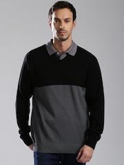 HRX by Hrithik Roshan Men Black & Grey Colourblocked Sweater