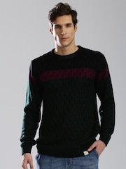 HRX by Hrithik Roshan Black & Green Colourblock Sweater
