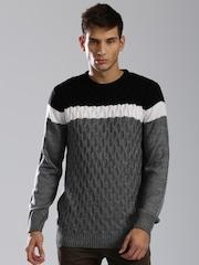 HRX by Hrithik Roshan Black & Grey Colourblock Sweater