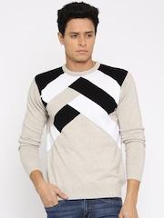 HRX by Hrithik Roshan Men Beige Colourblocked Sweater