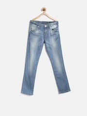 United Colors of Benetton Boys Blue Washed Skinny Fit Jeans