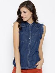 Kook N Keech Marvel Women Navy Blue Denim Shirt
