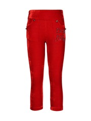 CUTECUMBER Girls Red Ankle-Length Jeggings with Embellished Detail
