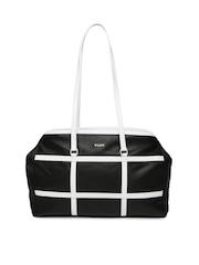 VIARI Black & White Checked Leather Handbag