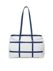 VIARI White & Navy Checked Leather Handbag