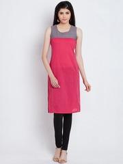 Rangriti Women Pink Woven Design Kurta