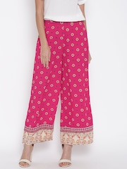 Fusion Beats Women Pink Printed Palazzo Trousers