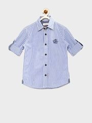U.S. Polo Assn. Kids Boys Blue & White Striped & Printed Shirt