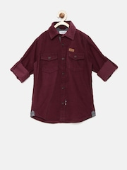 U.S. Polo Assn. Kids Boys Burgundy Corduroy Shirt