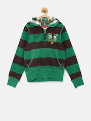 U.S. Polo Assn. Boys Green & Black Striped Hooded Sweatshirt