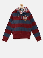 U.S. Polo Assn. Boys Navy & Red Striped Hooded Sweatshirt