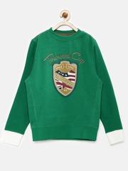 U.S. Polo Assn. Boys Green Printed Sweatshirt