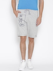 Undercolors of Benetton Men Grey Melange Printed Regular Fit Shorts