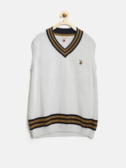 U.S. Polo Assn. Kids Boys White Sleeveless Sweater