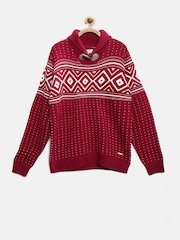 U.S. Polo Assn. Kids Boys Red Fair Isle Sweater