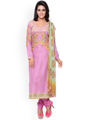 Satrani Pink Embroidered Cotton Unstitched Dress Material