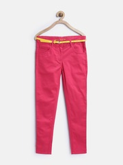 612 League Girls Pink Flat-Front Trousers