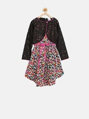 612 league Girls Multicoloured Floral Print Fit & Flare Dress with Shrug
