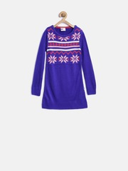 612 League Girls Blue Patterned Sweater Dress