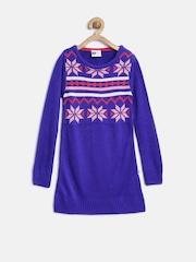 612 League Girls Blue Patterned Sweater Dress