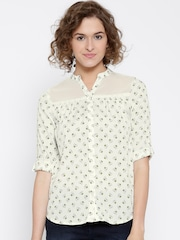 Honey by Pantaloons Off-White Polyester Printed Shirt