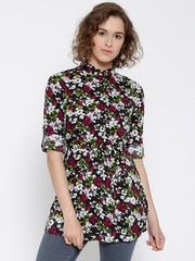 Honey by Pantaloons Multicoloured Printed Belted Longline Shirt