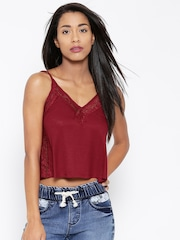FOREVER 21 Maroon Lace Crop Top