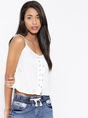 FOREVER 21 White Polyester Schiffli Embroidered Crop Top
