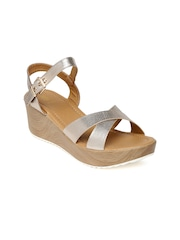 Tresmode Women Muted Gold-Toned Wedges