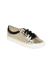 Tresmode Women Gold-toned Sneakers
