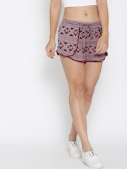 FOREVER 21 Women Burgundy Printed Shorts