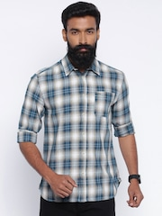 Jack & Jones Men Beige & Blue Checked Casual Shirt
