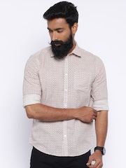 Jack & Jones Men Beige & Maroon Printed Casual Shirt