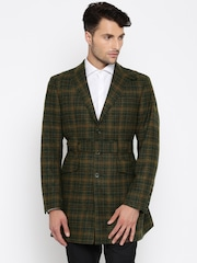 Theme Brown & Green Checked Woolen Single-Breasted Slim Fit Blazer