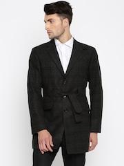 Theme Charcoal Grey Striped Woolen Single-Breasted Slim Fit Blazer