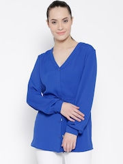 MANGO Blue Polyester Tie-Up Detail Tunic