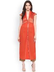 Fusion Beats Orange Woven Design Shrug