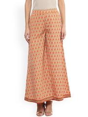 Fusion Beats Women Orange Printed Palazzo Trousers
